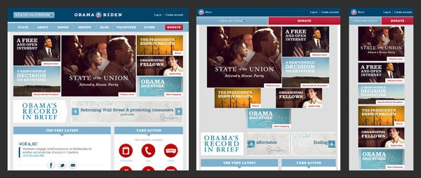 President Obama campaign website on desktop, iPad and iPhone.