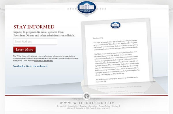 White House Splash Page