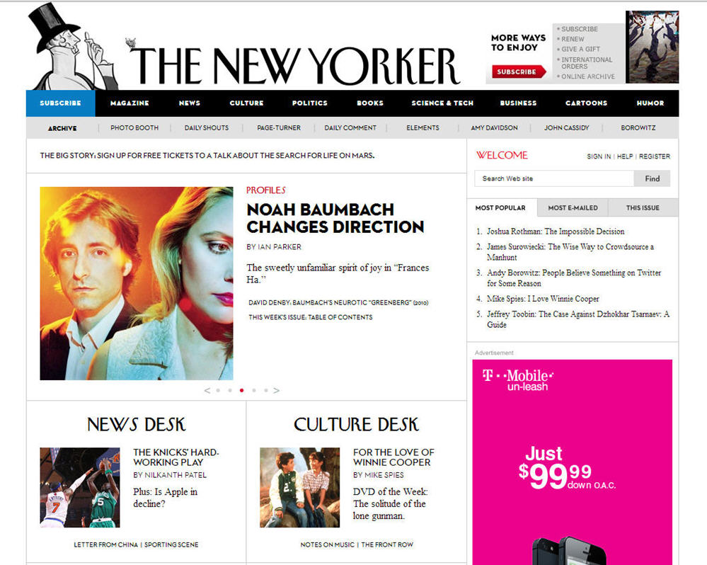 New Yorker Screenshot