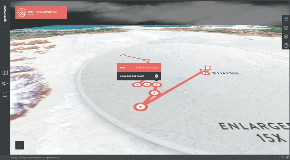Greenpeace interactive showing an exhibition to the North Pole.