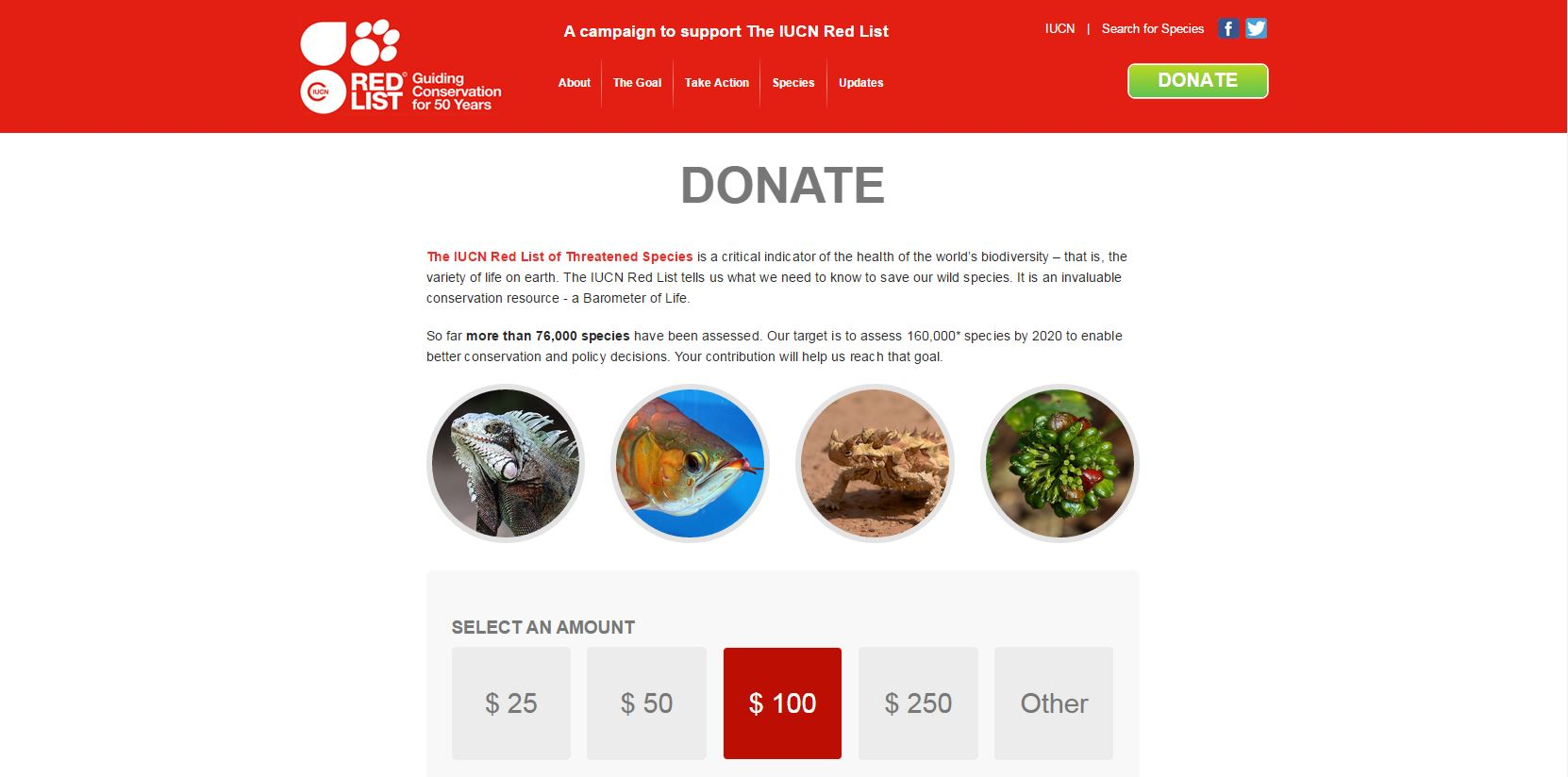 IUCN donation page
