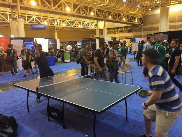 Drupalcon ping pong match in New Orleans.